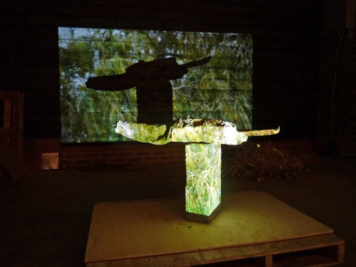 sculpture and projection